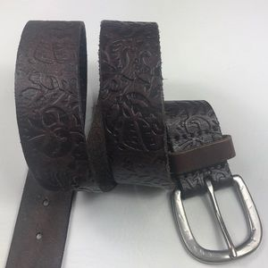 American Eagle floral embossed leather belt S